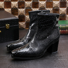 Designer Black Snake Skin Genuine Leather Military Boots Pointed Toe High Heels Cowboy Boots Dress Wedding Shoes Man choudory luxury brand leather italian western high heels pointed toe studded cowboy boots military black punk shoes man size12