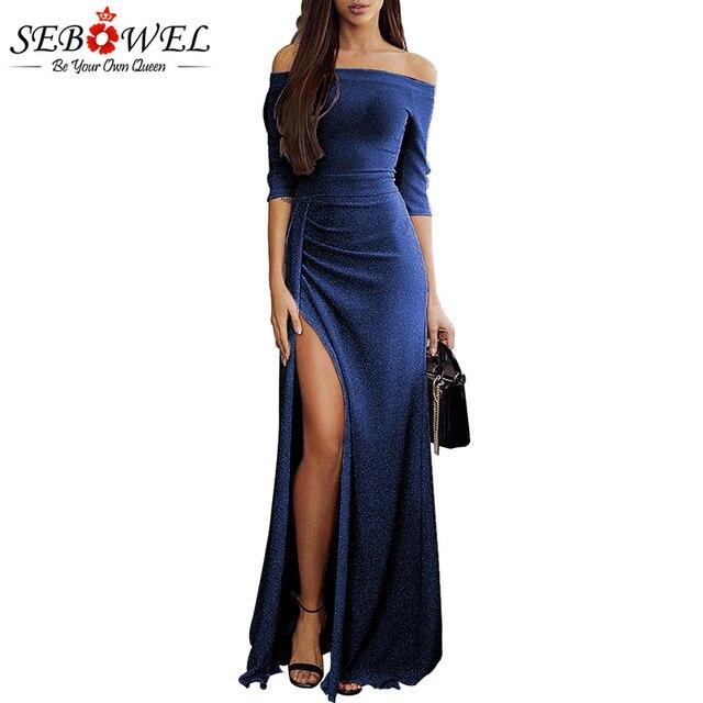 SEBOWEL Navy Sexy Metallic Glitter Off Shoulder Maxi Party Dress Elegant  Formal Long Shiny Dress Ruched 28cd2b656ea1