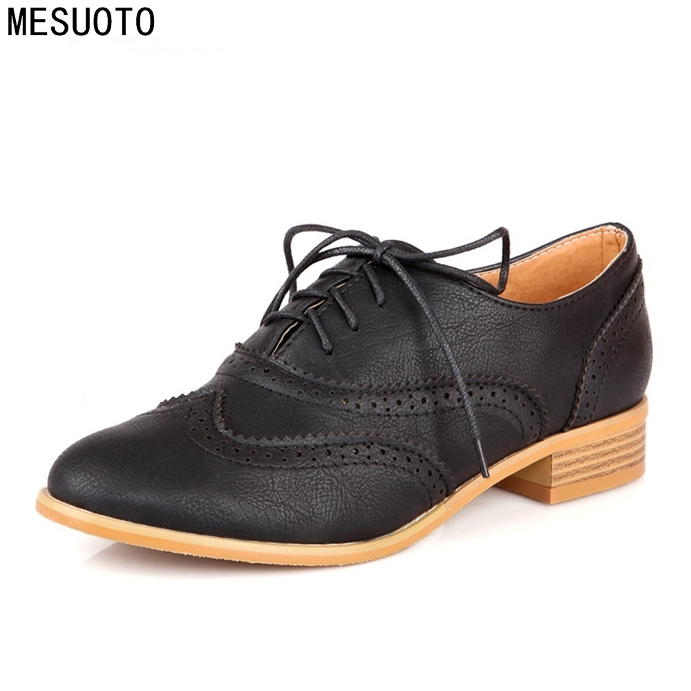 MESUOTO Spring Air Casual Round Toe Lace Up Vintage Brogue Cut out Ankle Lady Shoes Women
