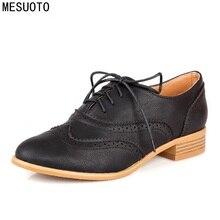 Mesuoto весенний воздух Повседневное круглый носок Кружева до Винтаж броги вырез лодыжки леди Обувь Для женщин Обувь шнурованная Туфли без каблуков плюс Размеры