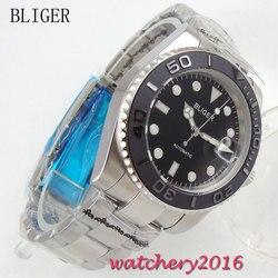 40mm Bliger czarna tarcza obrotowa ceramiczna ramka szkiełka zegarka Auto data Luminous Mark stal proste szafirowe szkło mechanizm automatyczny męski zegarek