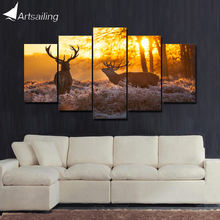 ArtSailing 5 panel wall art on canvas Paint Deer couple in sunset modern Home canvas print wall art canvas Poster framed cu-232(China)
