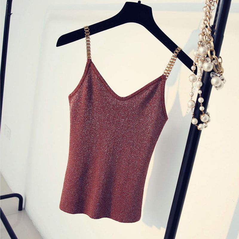 Women Summer Sleeveless T shirts Stretchy Camisole Fashion Knitting Tank Tops Female With Shinning Rayon Knitted Slim Sexy
