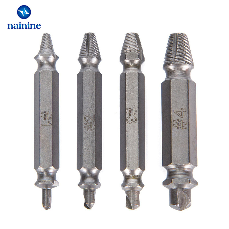 Nainine 4Pcs 1# 2# 3# 4# Double Side Damaged Screw Extractor Drill Bits Guide Set Broken Bolt Out Remover NHT04 2 pcs baroque double bass bow 3 4 snake
