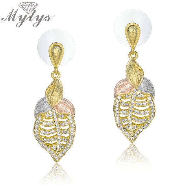 Mytys Three Gold Earrings Dangle Leaf Tricolor Sandblasting Frosted Technology S Fashion Ancient Jewelry Gift