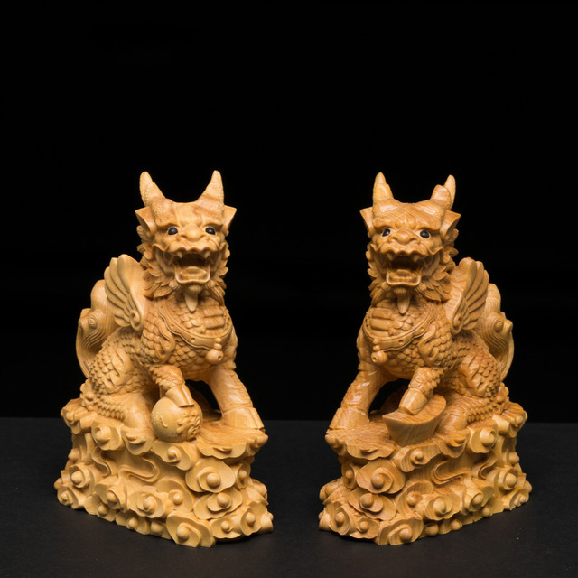 2pcs/set 10cm Solid Wood Kylin sculpture brave animal statue carving Feng Shui Lucky  head wall decoration2pcs/set 10cm Solid Wood Kylin sculpture brave animal statue carving Feng Shui Lucky  head wall decoration