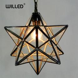 Loft Vintage Hanglamp Lamp Shooting Star Tiffany Glas voor Gangpad Gang Veranda Shop Decoratie armatuur Hanglamp