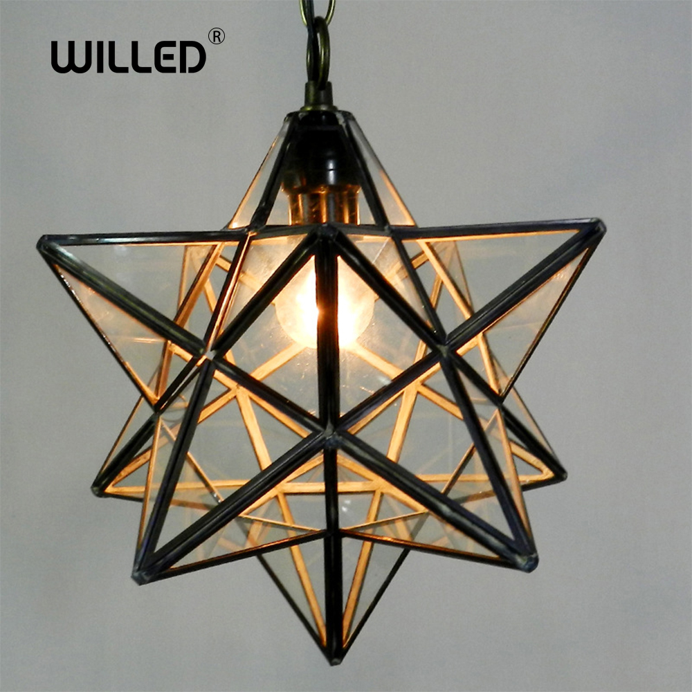 Loft Vintage Pendant Light Lamp Shooting Star Tiffany Glass For Aisle Corridor Porch Shop Decoration Luminaire Hanglamp