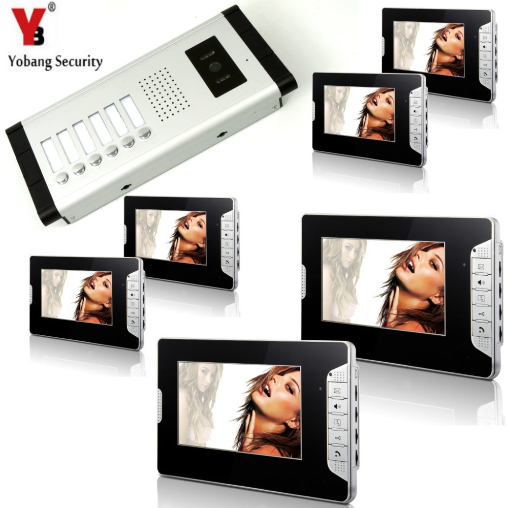 YobangSecurity 6 Unit Apartment Intercom Wired 7 Inch Color HD Video Phone Doorbell Intercom Access System 6 Monitor 1 Camera yobangsecurity 8 unit apartment video intercom wired 7 inch color hd video phone doorbell intercom access system 8 monitor