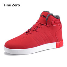 Fine Zero 2018 Casual Men Shoes High Top Lace-Up Ankle Boots High Quality Spring Autumn  Winter Warm Fur Plush Snow shoes