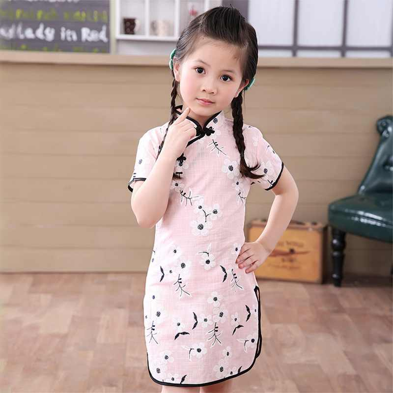 b14797a2f8de1 Girls dresses summer 2018 kids dresses for girls Chinese cheongsam Baby  elegant clothes Traditional Chinese garments for Child