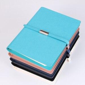 Image 4 - Pu Leder Lose Blatt Notebook Hardcover Journal ring binder Holzfreies Papier Clip planer Individuelles Logo Metall Magnet Schnalle