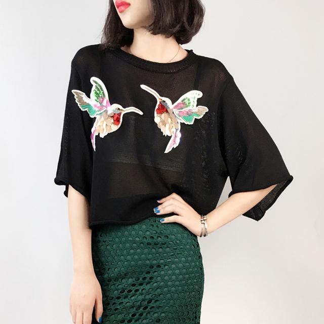 [XITAO] 2016 moda Coréia mulheres O Pescoço fino verão outono pullover solta respirável Camisetas casual feminino Tee de paetês RSJ008