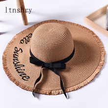 Handmade Weave letter Sun Hats For Women Black Ribbon Lace Up Large Brim Straw Hat Outdoor Beach Summer Caps Chapeu Feminino