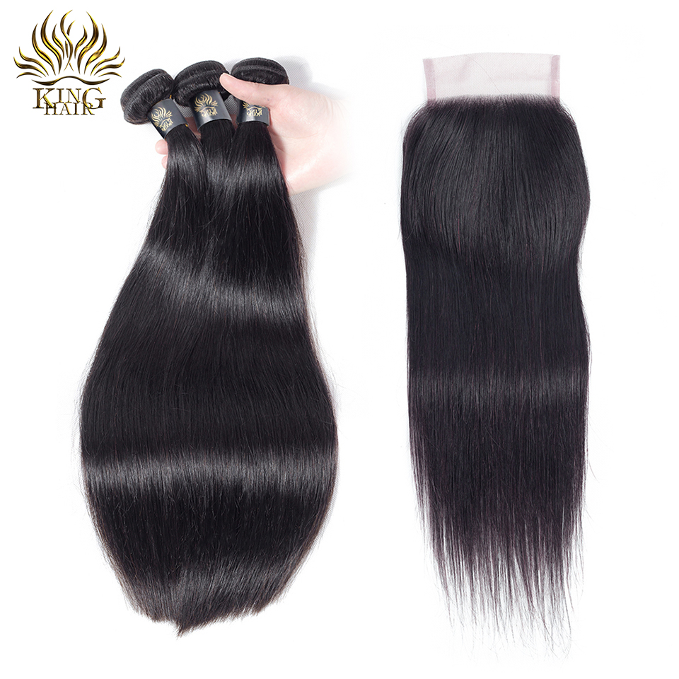 King Hair Peruvian Straight Human Hair Bundles With Closure Natural Color Free Middle Three Part Closure With Remy Hair 4pcs/lot