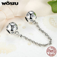 New Trendy 100 925 Sterling Silver Star Safety Chain Charm Beads Fit Original Pandora Bracelet Authentic