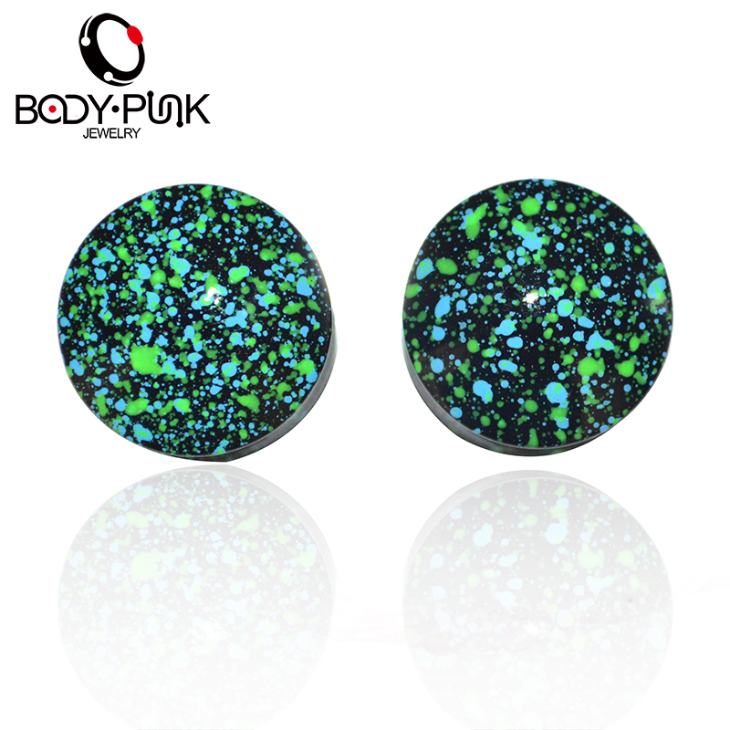 Piercings BODY PUNK Biru-hijau Dot 1Pair Acrylic Ear Plug Gauge Expander Stretcher Flesh Tunnel Piercing Body Jewelry 6-25mm
