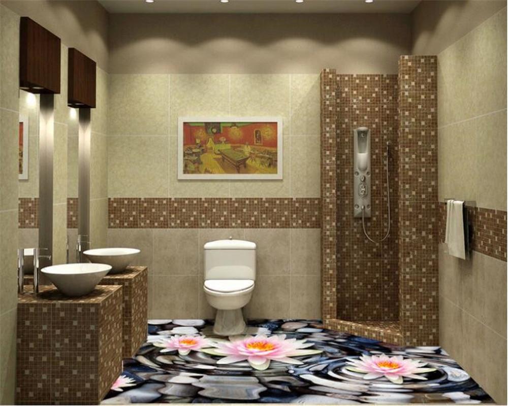 Papier Salle De Bain €15.66 46% de réduction|beibehang premium esthétique papier peint eau lotus  galet salle de bain cuisine salle de bains 3d plancher papier peint papel