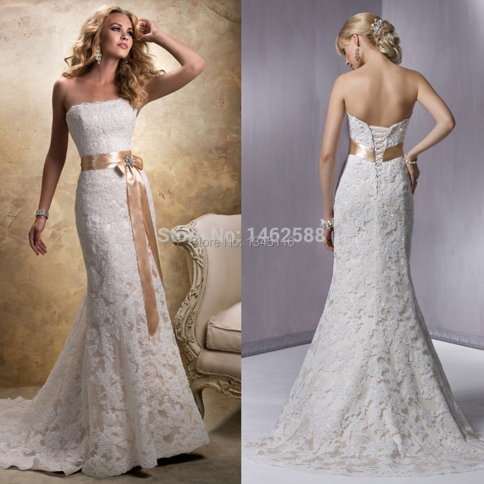 Compare prices on wedding dress champagne mermaid online shopping mermaid style strapless champagne satin sashes lace wedding dress mermaid 2017 new arrival sexy bride dress ombrellifo Gallery