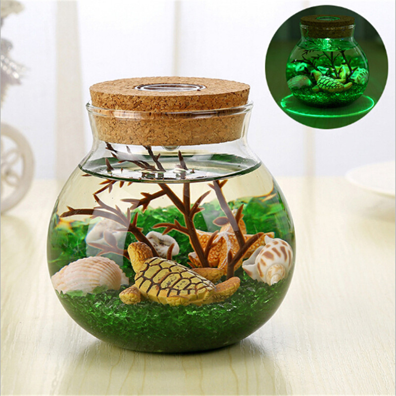 New DIY Bottle Led Night Lamp Novelty Underwater World Micro Landscape Colorful Lamp For Kids Birthday Creative Gift Lighting
