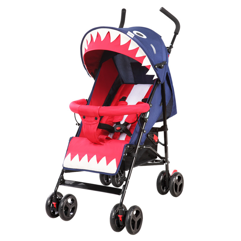 baby cart folding portable umbrella baby stroller summer and winter hand can take carriage can sit and lie shark shaping fold baby stroller one hand fold portable baby carriage can sit and lie umbrella cart with travel bag 5 8kg baby stroller