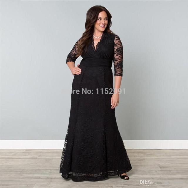 2016 Sexy cuello en V más el tamaño del cordón lf2739 madre de la novia viste con 3/4 manga una línea barato Formal madre vestido de noche para la boda