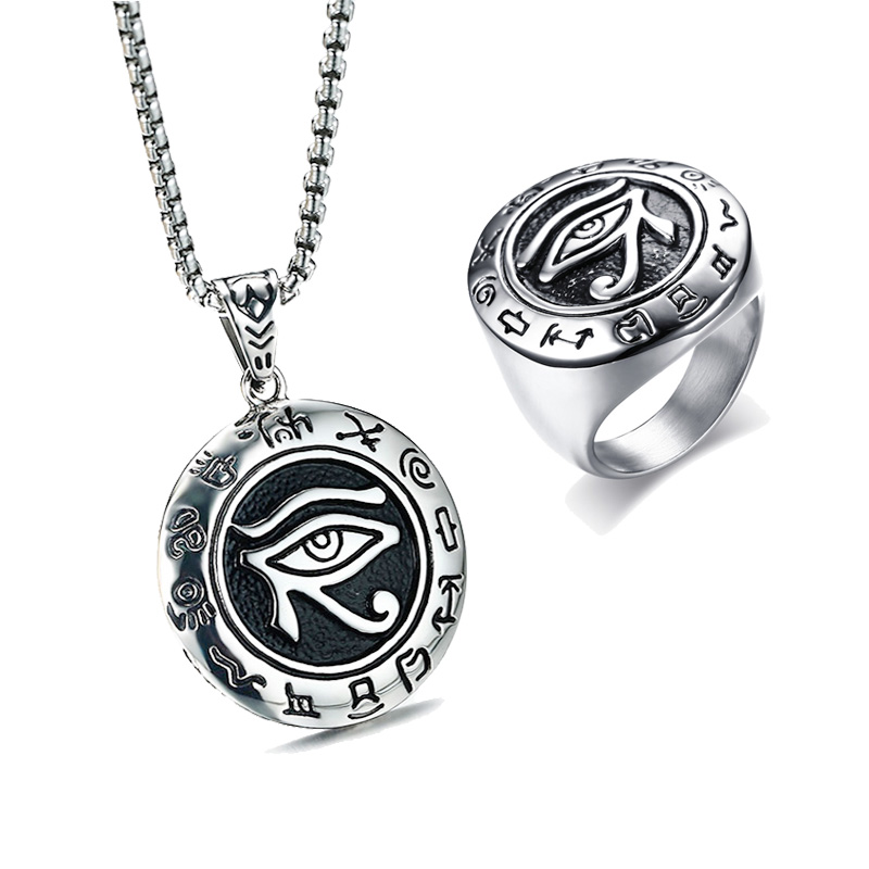 Oeil égyptien De Horus Pendentif Collier Anneau Hommes Bijoux Ensemble Amulette Pour Protection Egypte Spirituelle Kemetic Bijoux Collares