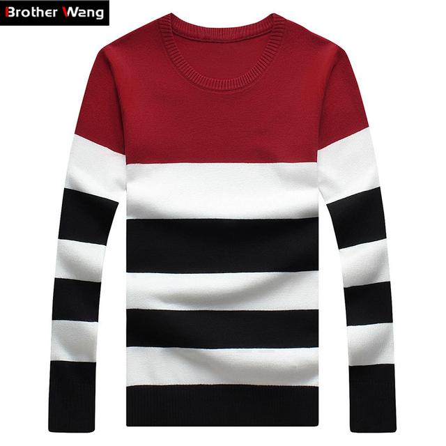 Suéter masculino, suéter vestuário masculino para lazer cor listrada, gola redonda novo desenvolvimento masculino, one's morality, grande M-6G