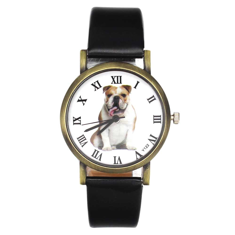 Bulldog Pet Liebe Hund Männer Frauen Uhren Pu-lederband 18mm Armband Sport Casual Unisex Quarz Armbanduhr Angebote Neue ankunft