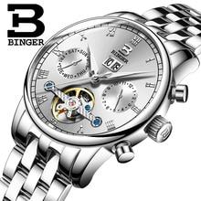 Schweiz BINGER herrenuhr luxus marke Tourbillon fulll edelstahl wasserdicht Mechanische Armbanduhren B-8604