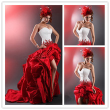 MANSA Fashionable White And Red Wedding Dress Strapless High Low Gowns Sexy Backless Dresses Custom Made