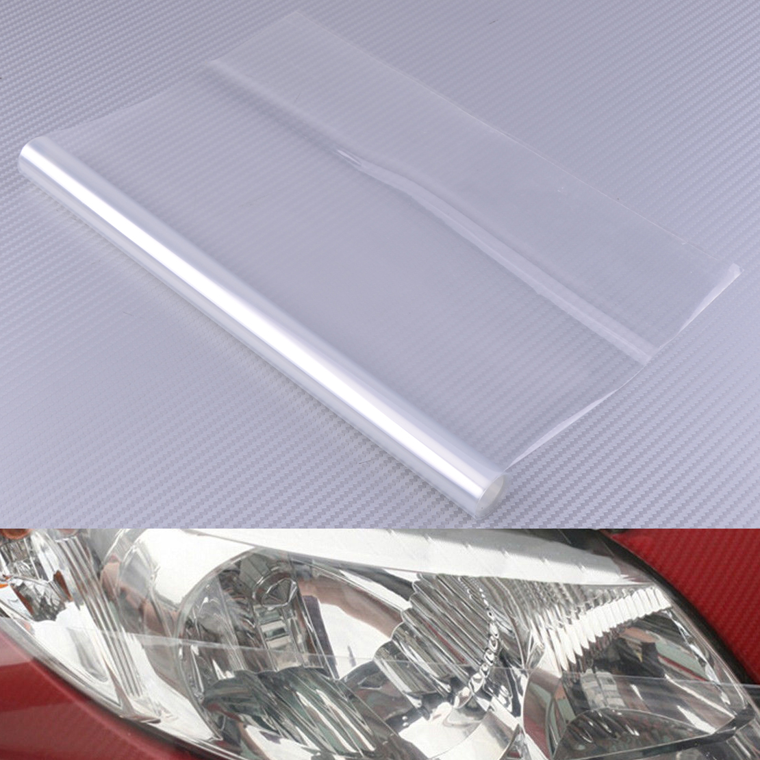 DWCX 1Pc Car Clear Waterproof Transpatent Headlight Brake Tail Lamp Protection Vinyl Film Sheet Wrap Decal Cover 30 X 100cm