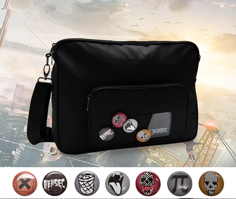 цена Game Watch Dogs 2 Cosplay Bags Anime Marcus Holloway Aiden Pearce Messenger Bag Canvas school shoulder Handbags