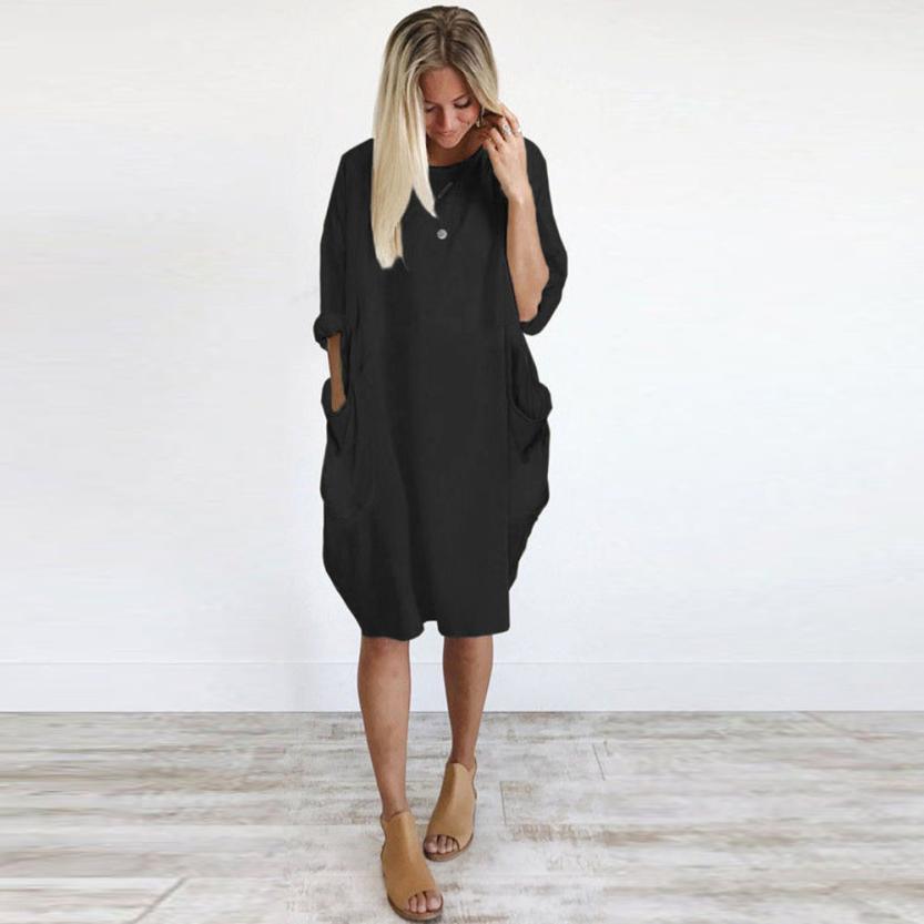 HTB19tk9J1uSBuNjSsziq6zq8pXaY Women's Fashion Dress Womens Pocket Loose Dress Ladies Crew Neck Casual Long Tops Dresses Plus Size augu10