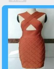 2018 new arrivals summer women dress wholesale orange cross bandage dress party dress dropshipping Dress + suit(China)