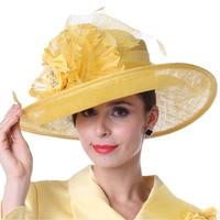 Free Shipping Women Dress Winter Hair Accessories Wome Sinamay Church Hat Fashion Ladies Yellow Sinamay Hat