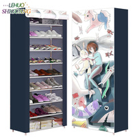 Printing Shoe cabinet 10 layer 9 grid Non woven fabrics large Shoe rack organizer removable shoe storage for home furniture