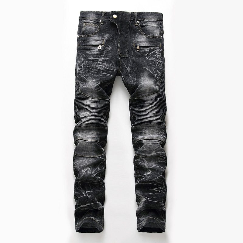 Mens Skinny Distressed Slim speed motorcycle jeans Denim Biker Jeans Hip hop denim Pants Washed Ripped Jeans plus size 28-42 biker jeans mens brand black skinny ripped zipper full length pants hip hop cotton denim distressed pantalones vaqueros hombre