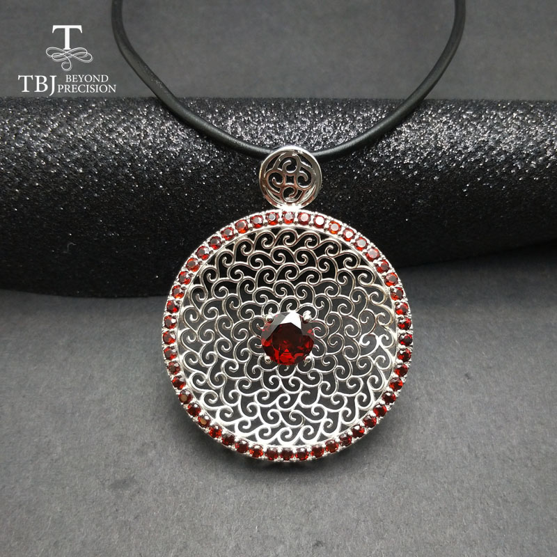TBJ ,New big natural garnet gemstone pendants in 925 sterling silver jewelry,special elegant gemstone pendant for women as gift