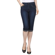 Woman Slim Fit Denim Cropped Pant Blue Jeans Trouser Sequined Pockets Jeans Pantalones Mujer Zipper Fly Knee Length Denim Pants недорого