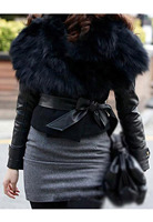 Women's Faux Fur Sunday Angora Yarns Coat Sleeveless Outerwear With Belt black