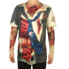 Scary Undead Zombie Costume for Men Horror Halloween Costumes Living Dead Long Sleeve T Shirts Plus Size