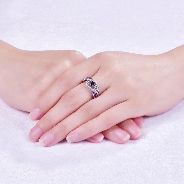 lingmei New Arrival Oval Heart Cut Design Multicolor & Purple White CZ Silver Color Ring Size 6 7 8 9 Fashion Women Jewelry Gift 1