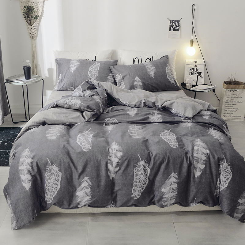Stylish Grey White Print Bedding Set Queen King Full Size Bed Linen 4pcs/Set Duvet Cover Set Bed Sheet AB Side Duvet Cover 2019Stylish Grey White Print Bedding Set Queen King Full Size Bed Linen 4pcs/Set Duvet Cover Set Bed Sheet AB Side Duvet Cover 2019