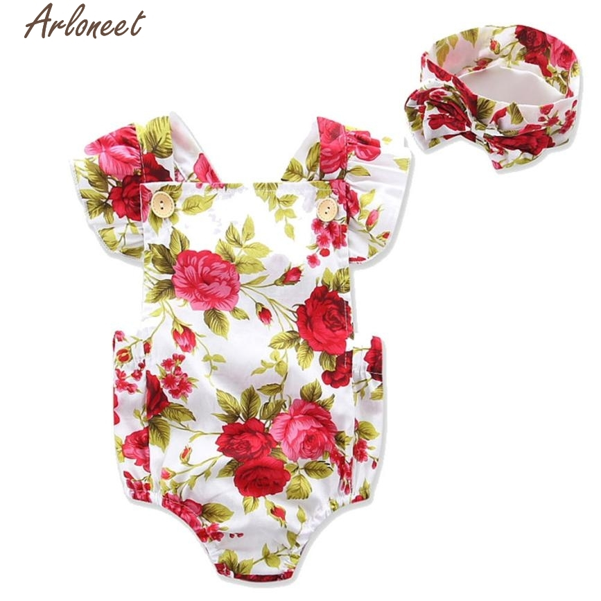 Christmas Pajamas Dress For Baby Girls Newborn Infant Baby Girls Flowers Print Romper Jumpsuit Headband Outfits Clothes Red &