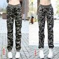 2016 Spring & Autumn Mulheres Moda Casual Solta Camuflagem Verde Do Exército Ao Ar Livre Calças de Cintura Elástica de Algodão calças Militares de carga