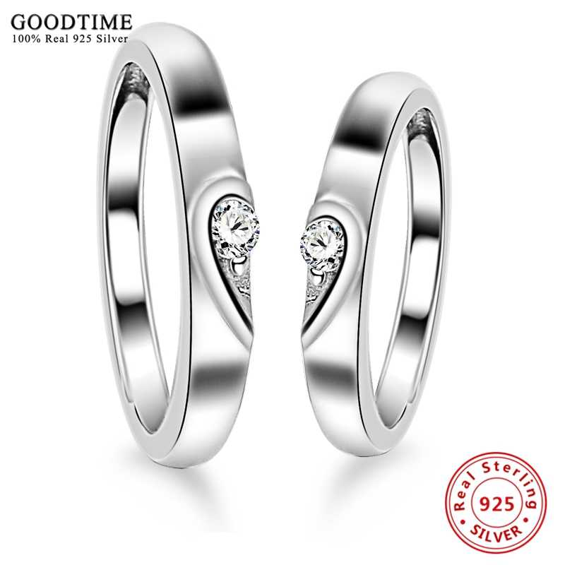 622b82e3a0 1PCS 925 Sterling Silver Ring AAA Cubic Zircon Heart Couple Rings Wedding  Jewelry for Lover Women