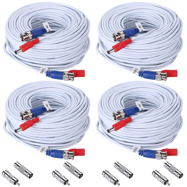 SANNCE 30M BNC+DC Plug Video Power Cable 100ft CCTV Cables For AHD Camera And DVR Surveillance System 4 Packs Wire Accessories