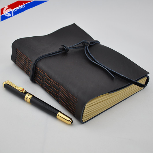 Hardcover Stitching Binding Notebook Stylish Office Accessories A5 Black  Retro Handmade Leather Diary Notebook Free Delivery