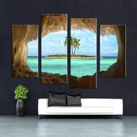 4 Panel Cave Seacape Living Rooms Set Wall Painting Print On Canvas For Home Decor Ideas